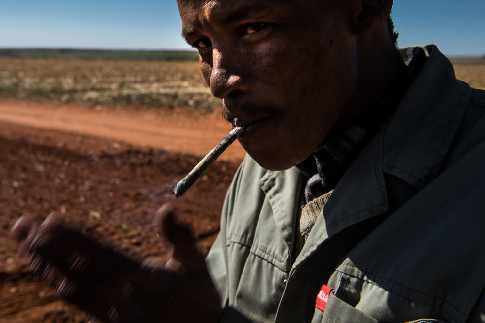 South Africa, Northern Cape, 02.08.2018 // A farmworker smoking during a break of work on the fields. // Lucas Bäuml
