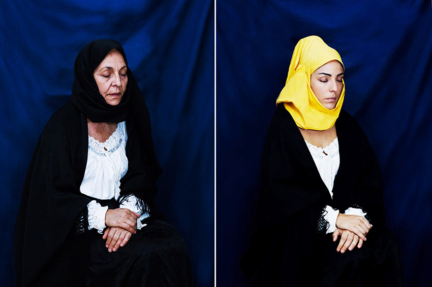 Mother and daughter in mourning dress.