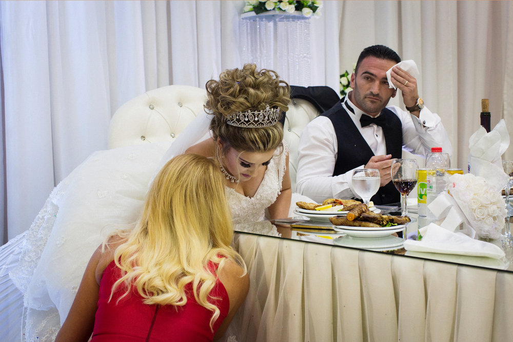 Bride and groom at their weddign party in Skodra, Northern Albania.