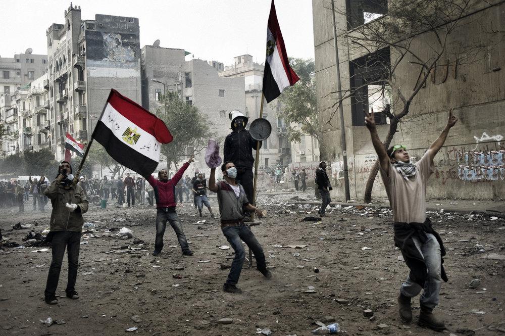 Cairo Egypt November 23, 2011:The battle zone along Mohamed Mahmoud street in Cairo, November 23, 2011.