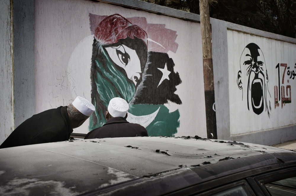 Benghazi Libya  March 28  2012:  New  graffiti  on  the school's wall.