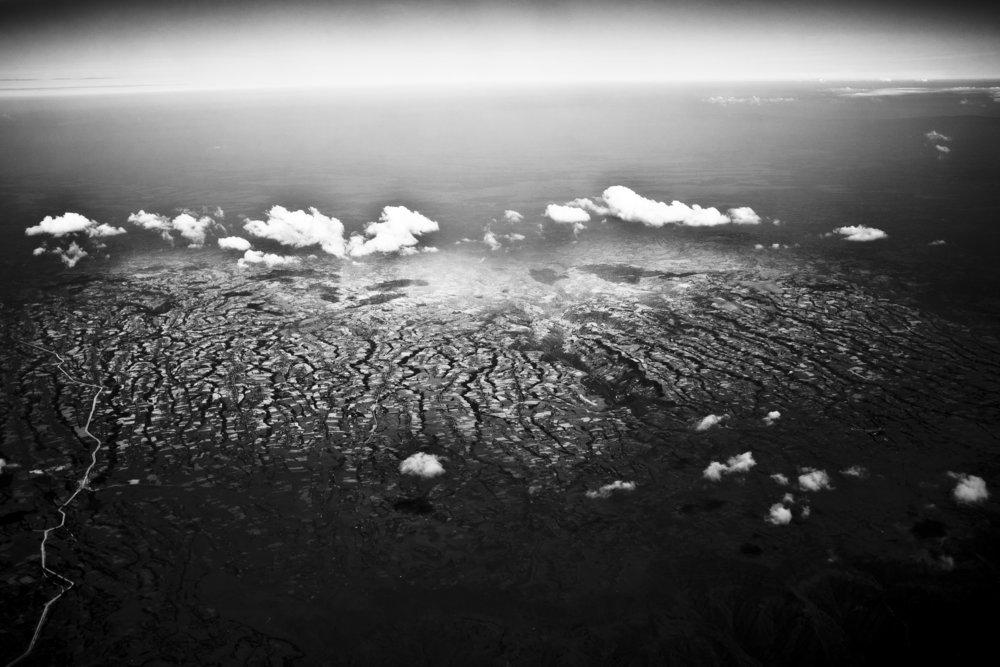 Kenya, October 2011. Flying somewhere above Kenyan mountains on the way from Addis Ababa to Kinshasa.