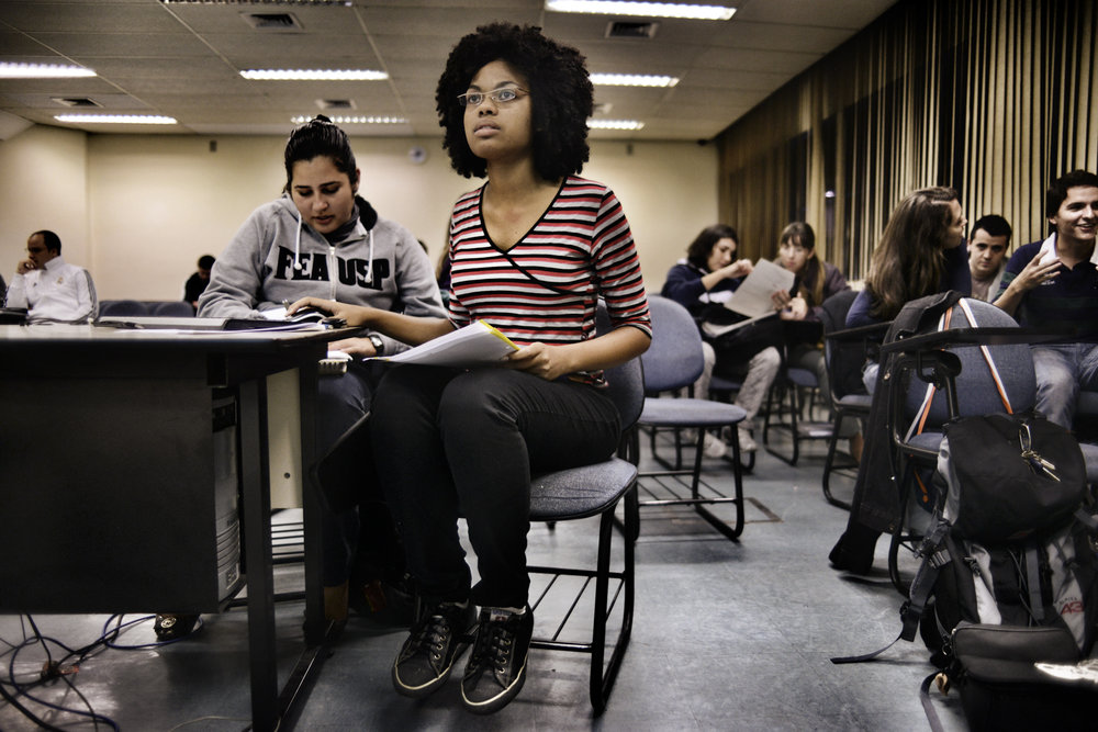 Women pack the classes at Sao Paulo University business school.
