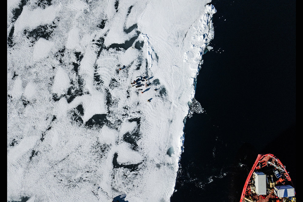 Canada, Nunavut, Kangiqsualuk Ilua (Hudson Bay), June 2018An aerial of the Amundsen, which is an icebreaker from the Canadian coastguard, which is also partly has been converted to a science lab. An international team of scientists specialised in sea ice, glaciers, biologists etc are on a expedition on the Hudson Bay and among others research the effect of the melting sea ice.Kadir van Lohuizen / NOOR for Carmignac Fondation