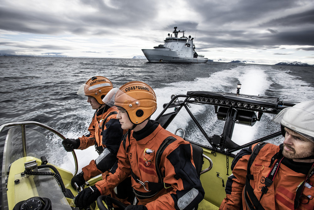 Svalbard / Spitsbergen, Longyearbyen, June 2018The Norwegian coastguard, which is part of the navy is patrolling the Isfjorden. The coastguard is not allowed to be based on Svalbard, but operates from Norway, because administratively, the archipelago is not part of Norway, but forms an unincorporated area administered by a governor appointed by the Norwegian government.Kadir van Lohuizen / NOOR for Carmignac Fondation