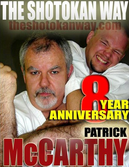 Kyoshi Brännbacka on the cover of The Shotokan way with his teacher Hanshi Patrick McCarthy