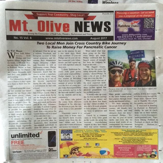 #PortlandtoPortland makes front page news. We're the superheroes of Mt. Olive! #anyonecanbeasuperhero #pancreaticcancer #pancan #crosscountrycycling #cycling #hometownheroes