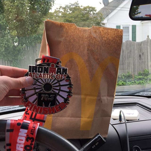 Finish with a new personal record by more than 30 minutes! Tell me I don't deserve McDonalds right now. #ironman703
