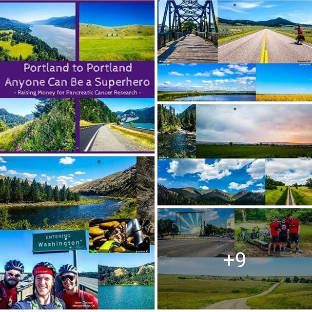I finally finished designing the 2018 calendar for the @portland_to_portland trip! @scottmerritt11, @vapour_rumours, and I will be selling them in an effort to get our total money raised for pancreatic cancer above the $10,000 mark! We are going to be selling them for $20 each. All the pictures have the location where they were taken. See the country through our eyes. Be a superhero today and buy a calendar on www.bikingportlandtoportland.com  We encourage you to buy them in person if you live in the area to save on shipping! . . #PortlandtoPortland #anyonecanbeasuperhero #pancan #wagehope #marvel #crosscountrycycling #touring #cycle #cycling #calendar #2018 #nature
