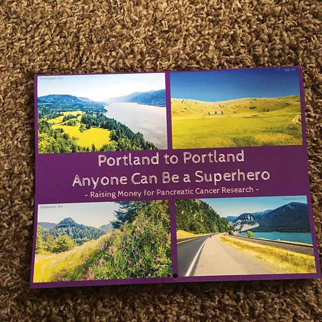 Calendars are in! Help support @pancan and buy a wall calendar, which features pictures of the US taken from our @portland_to_portland cycling trip this past summer. Calendars are $20 and all proceeds go directly to pancreatic cancer research. We're less than $1,000 away from our $10,000 fundraising goal. Message me if you'd like to buy one #portlandtoportland #anyonecanbeasuperhero #pancreaticcancer #cycling