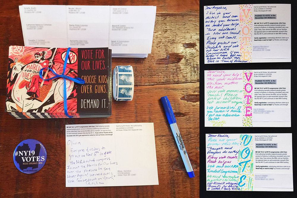 POSTCARDS TO VOTERS - Between March to June 2018 we sent out 20,000+ handwritten cards. For the midterms we reached another 40,000. You helped us raise our turn out. Thank you to all our amazing writers!