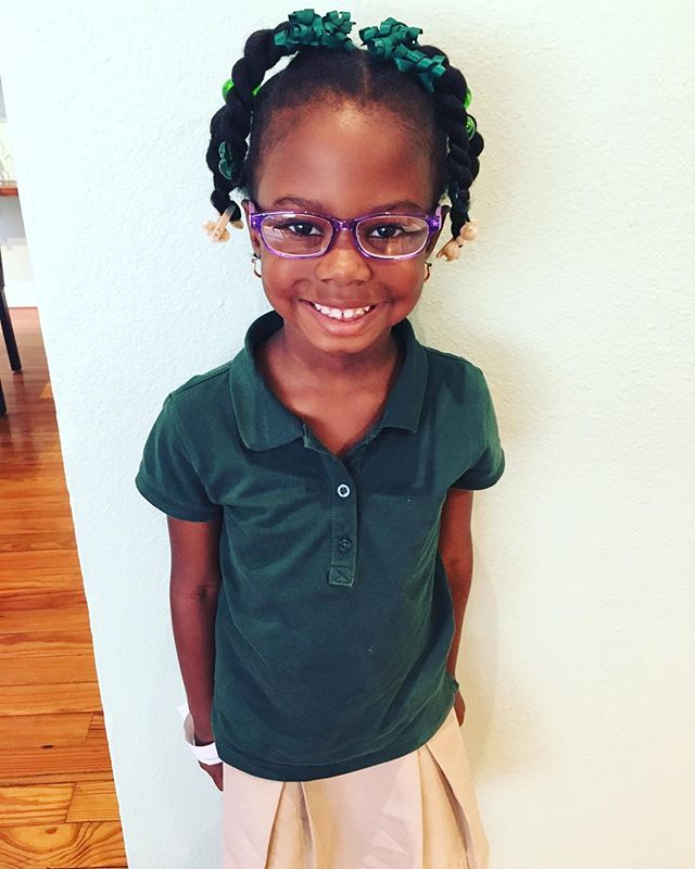 Sweet Myah is toooo cute in her first pair of glasses!!! How bout that smile?! 😊😊😊
