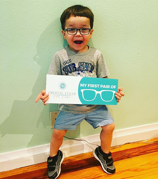 Cuteness overload!!! Brentlee is SO EXCITED about his first pair of glasses!!!!