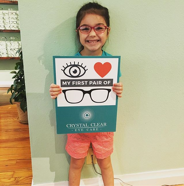 Sweet smiling Lainey couldn't be more precious in her very first pair of glasses!!!
