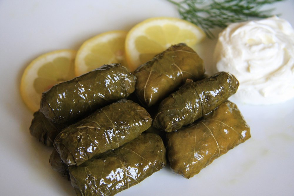 Dolmadakia (Grape vine leaves stuffed with rice and herbs)