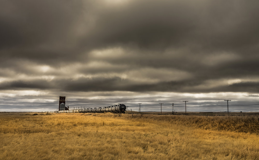 Grain elevators and rail cars punctuate the land and can be seen miles ahead