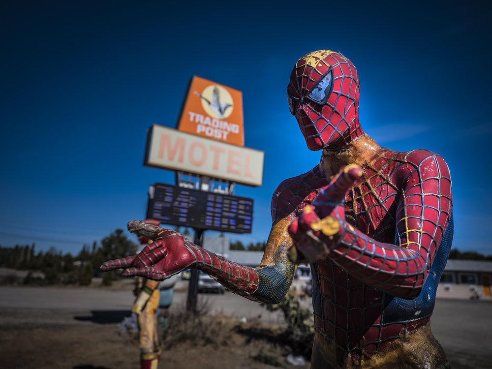 Spiderman stands ready to protect the Trading Post Motel along the Trans Canada Highway west of Thunder Bay