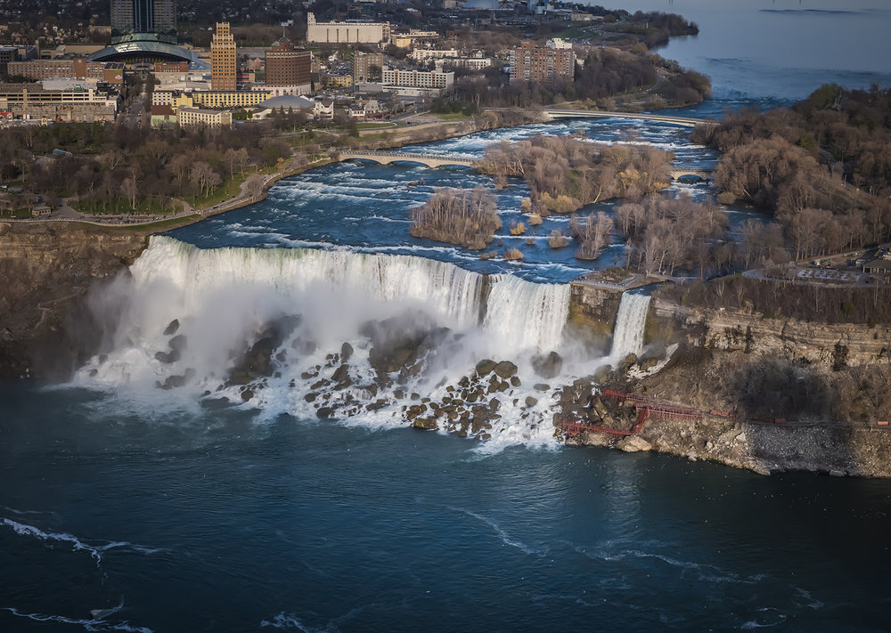 The American Falls seen from the Skylon Tower on the Canadian side of Niagara