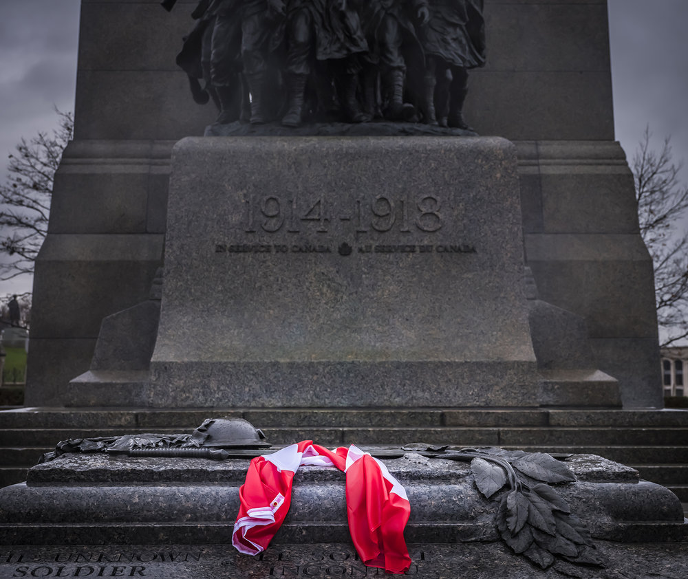A Canadian flag rests on the Tomb of the Unknown Soldier in Ottawa, Ontario.