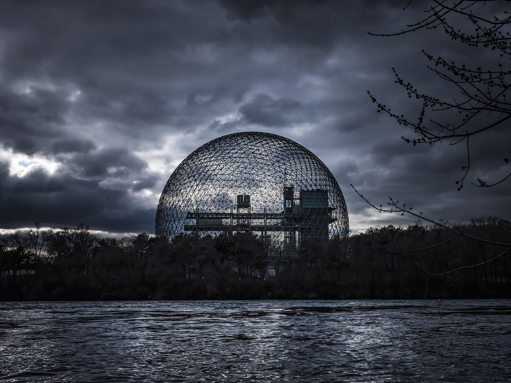 The giant geodesic dome which is the symbol of Expo '67, now called the Biosphere.