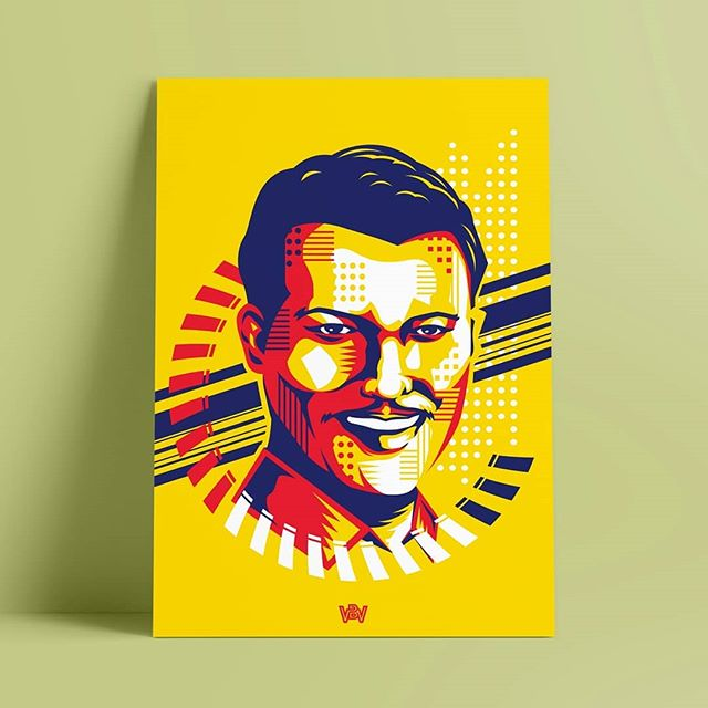 This piece pays tribute to the late P. Ramlee. Utilising a pop art aesthetic, the shapes and colors reference his vibrant personality and versatile approach to his acting and the characters he created in his movies. --- #whitebones #exhibition #vector #portrait #popart #illustration #graphic #design #graphicdesign #inspiration #print #designdaily #instaart #instadesign #artoftheday #georgetown #penang #instadaily