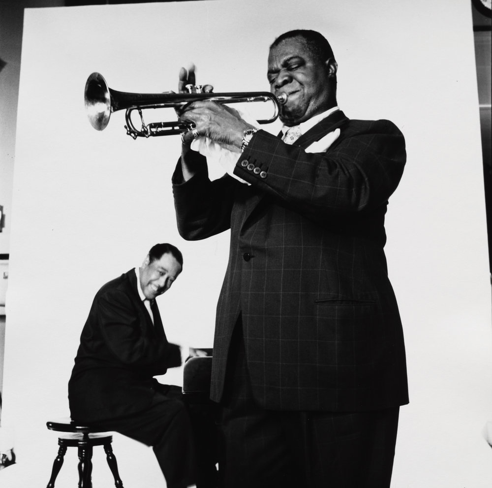 Duke Ellington and Louis Armstrong (2 of 3) , New York, 1955 Gelatin silver print © The Irving Penn Foundation