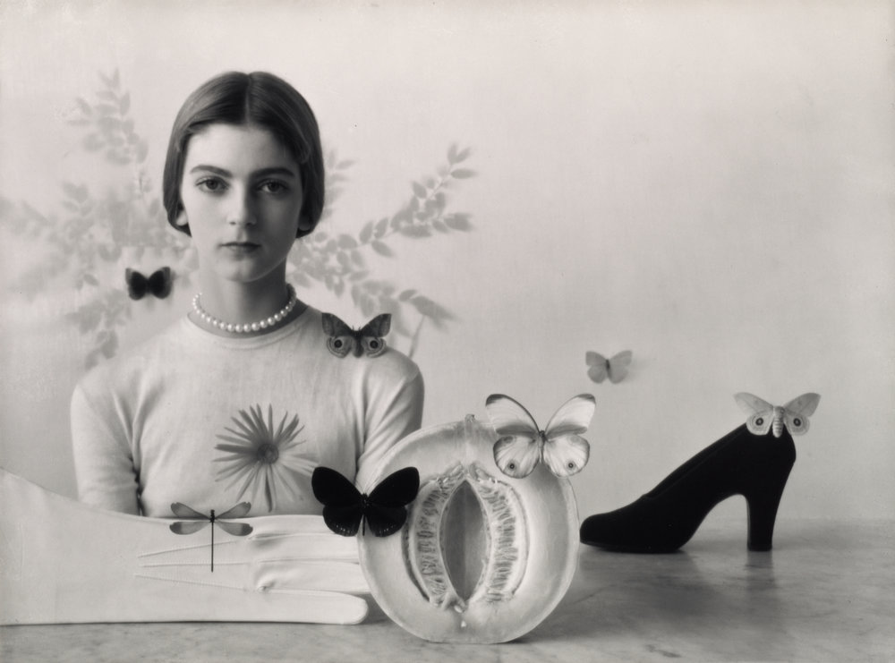 Girl with Fruit, Shoe, and Butterflies , New York, 1946 Gelatin silver print © Condé Nast