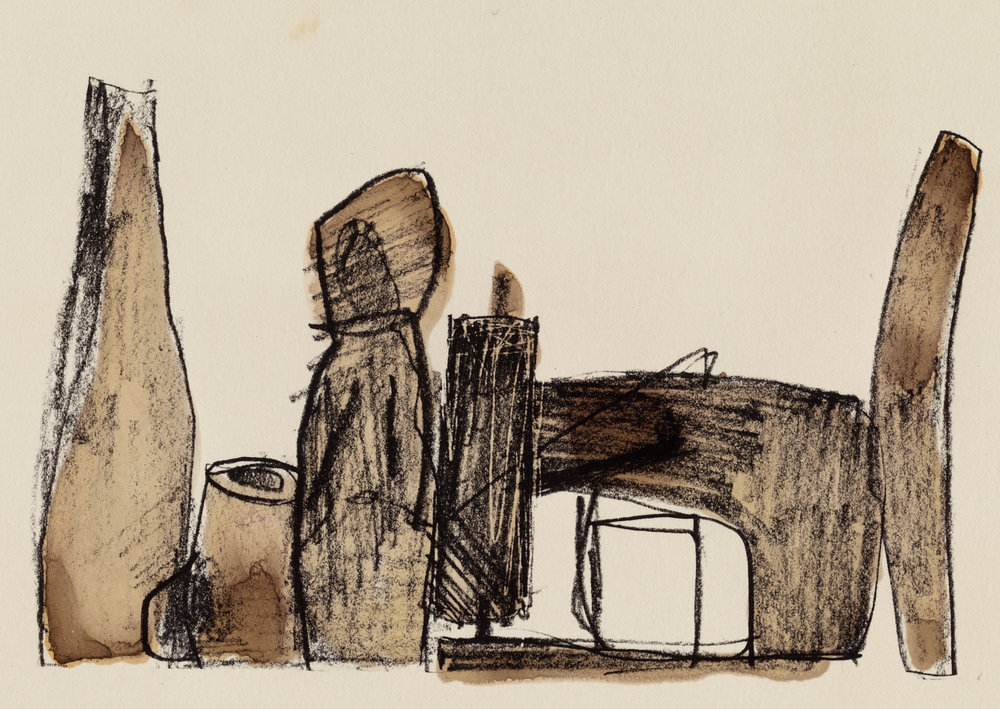 Sewing Machine and Four Objects , 1996 Platinum print (from undated original graphite and ink drawing)and watercolor on paper © The Irving Penn Foundation