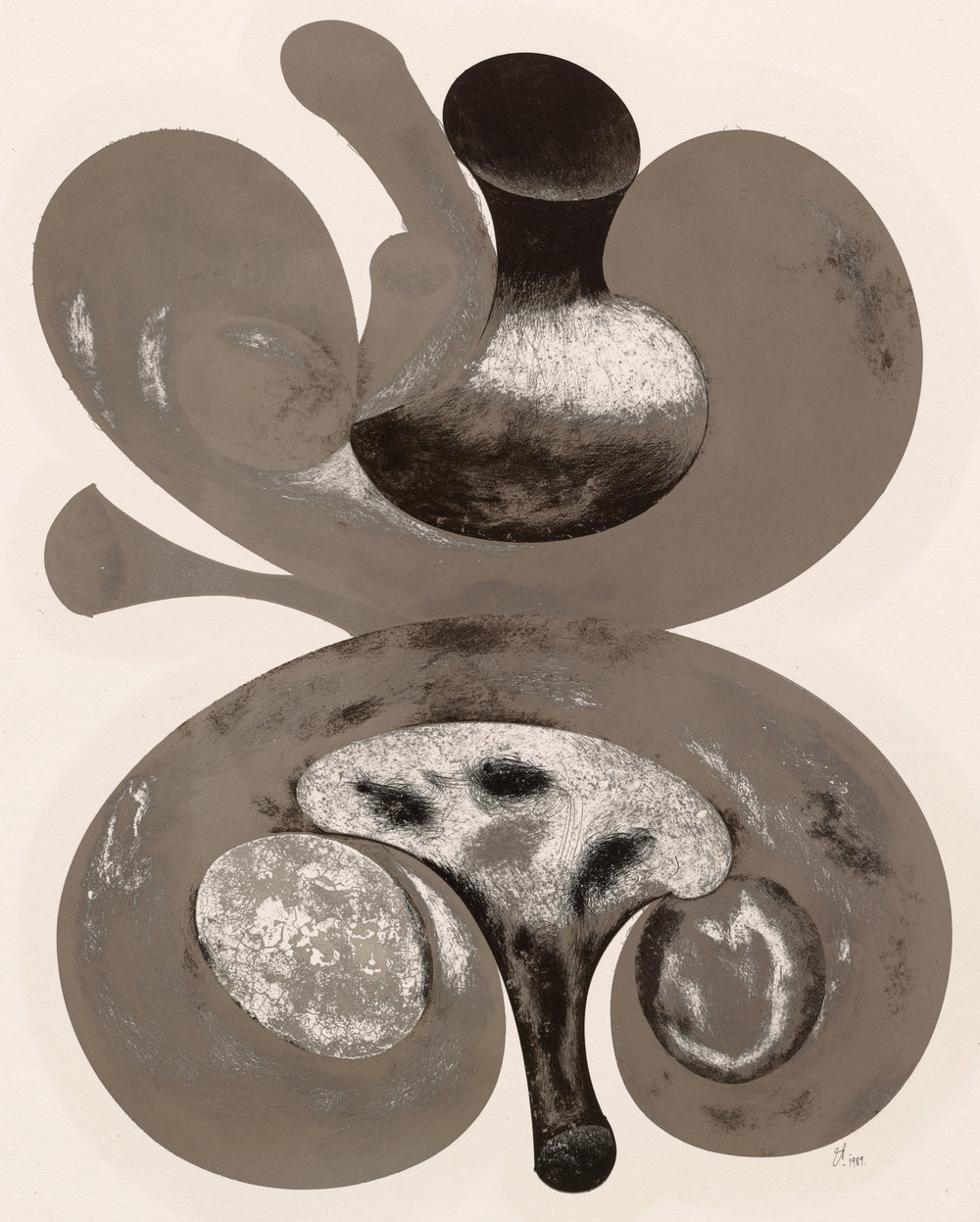 Two Mushrooms , 1998 Cliché verre, platinum-palladium print (from original ink drawing) on paper mounted on aluminum © The Irving Penn Foundation