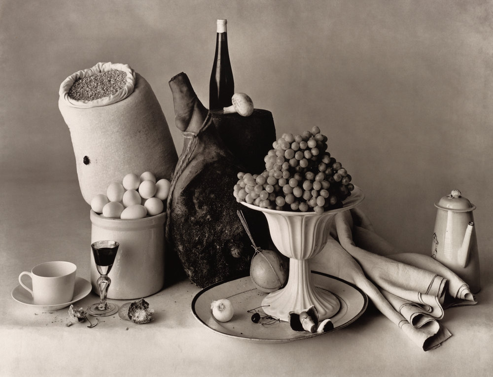 A Note onPrint Types - Irving Penn's photographic work can be divided between gelatin silver prints, platinum-palladium prints, and color prints of various types. Some images exist in all three, as is the case withStill Life with Food.