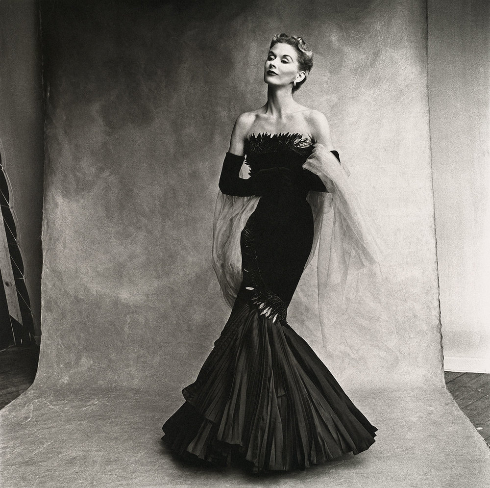Irving Penn,  Rochas Mermaid Dress (Lisa Fonssagrives-Penn) , Paris, 1950. Platinum-palladium print.  ©  Condé Nast
