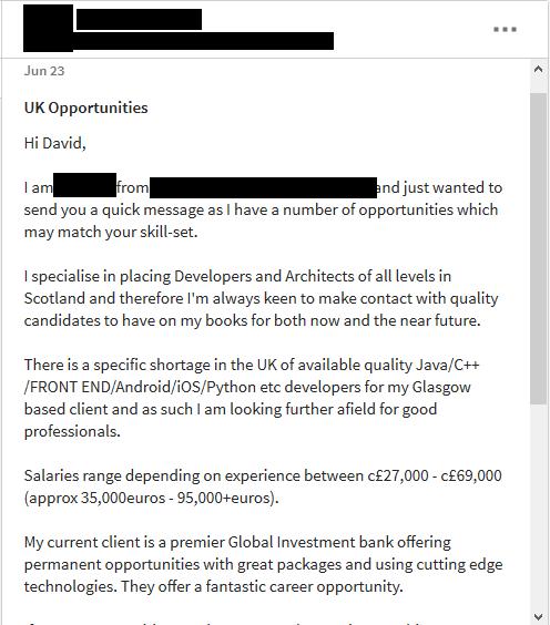 Email od personální agentury