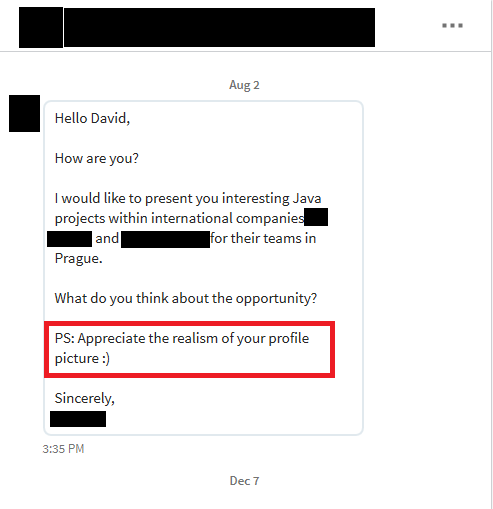 Email from an IT recruiter