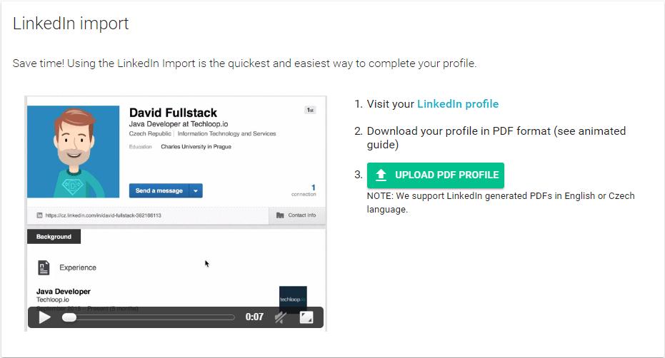 Importuj LinkedIn profil na Techloop