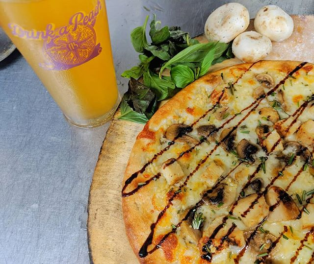 Drink-a-Peach Meet Idlewild South!!! Garlic - Olive Oil Base, Grilled Chicken, Mushroom & Fresh Rosemary with Balsamic Drizzle. Today Only!!!! . . . . . . .
