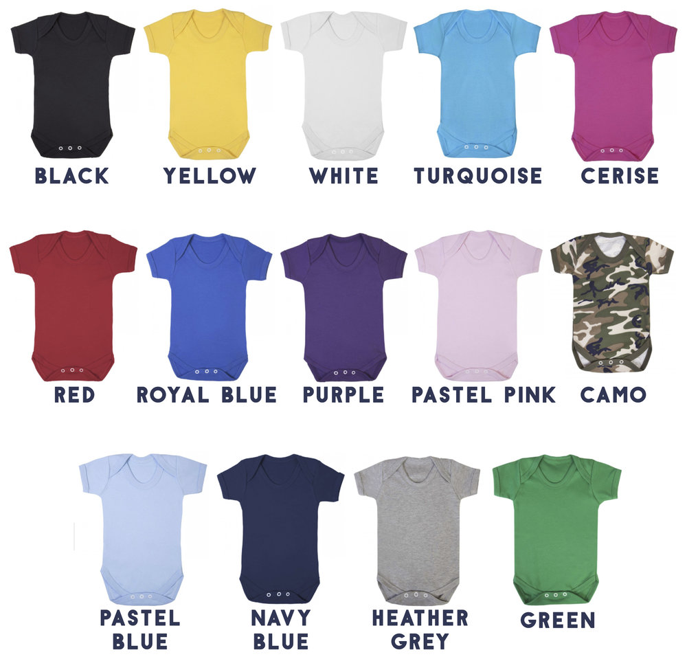 Colours& Sizes - 0-3 months3-6 months6-12 months12-18 months(if you have measurements and are not sure about sizing please message me and I can check which baby grow will fit your baby best)