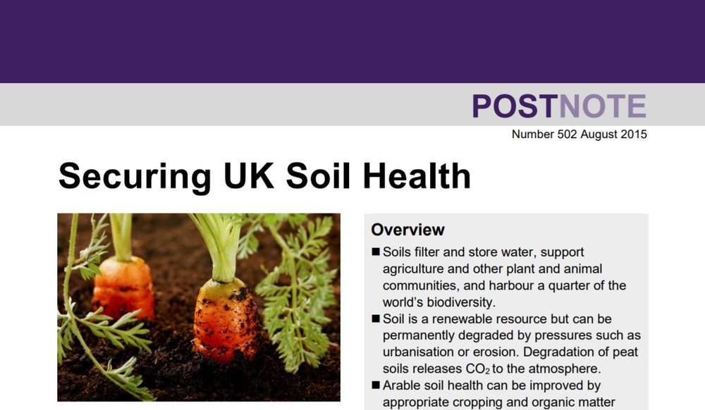 Securing UK Soil Health    Parliamentary Office of Science & Technology  August 2015   In England & Wales, soil degradation costs c.£1bn/year. This brief outlines evidence for measures that sustain soils & existing policies affecting soil health.