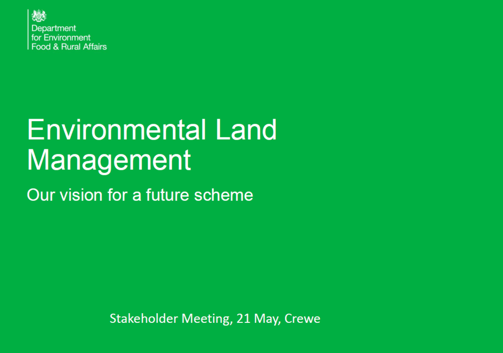 Environmental Land Management: Our vision for a future scheme    Defra  May 2018   Built on a foundation of the Government ambition to leave the environment in a better state than it was found.