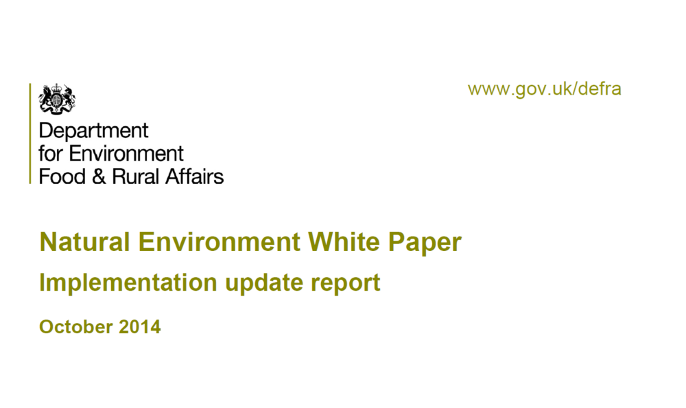 Natural Environment White Paper: Implementation update report    Defra  October 2014   A healthy natural environment is the foundation of sustained economic growth, prospering communities and personal wellbeing.