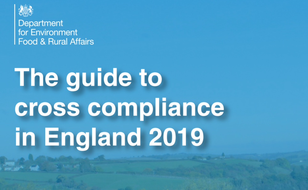 The guide to cross compliance in England    Defra  January 2019  ' Cross compliance' is a set of rules which farmers and land managers must follow if they are claiming rural payments.