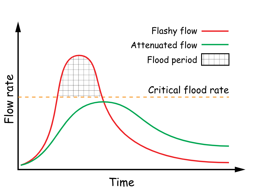 Hydrographs of a river in spate and with an attenuated flow