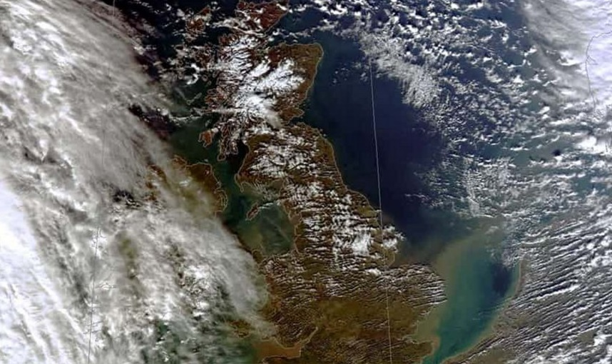 Soil erosion captured by satellite leaching in to water around the coast of the UK