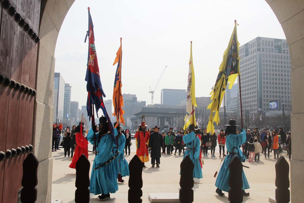 Changing of the royal guard at Gyeongbokgung Palace, Seoul