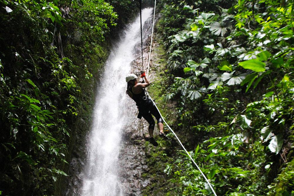 La Fortuna, Costa Rica — Repelling down a waterfall