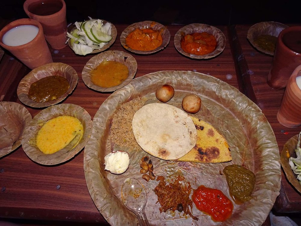 A thali meal at Chokhi Dhani