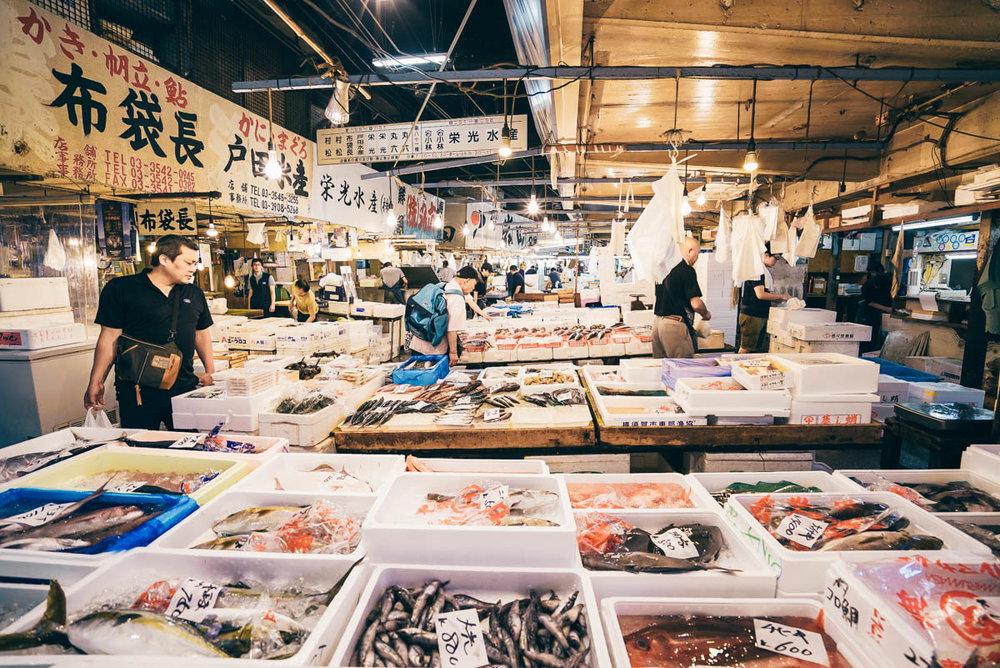 Wide angle shot in Tsukiji Market, Tokyo