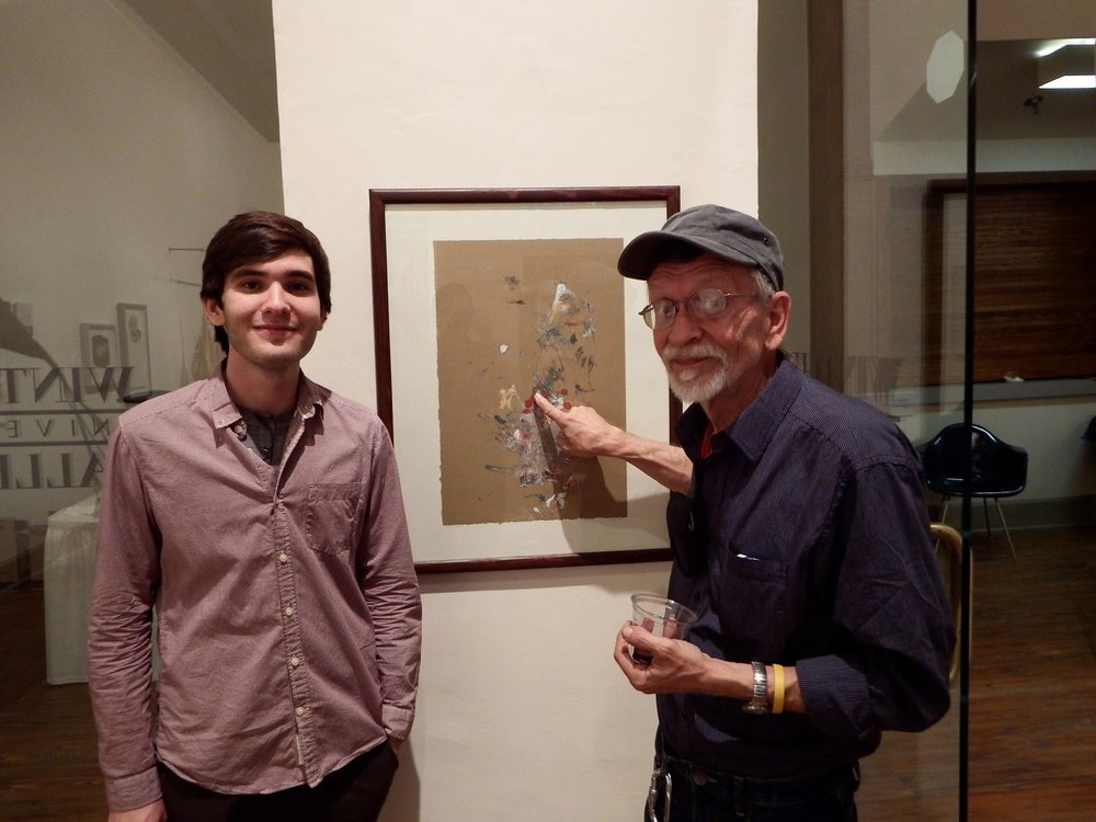 Greyson with one of his college mentors, Paul Martyka, exhibiting his monotype 'P.M.'s Favorite' at Winthrop University Galleries in 2014