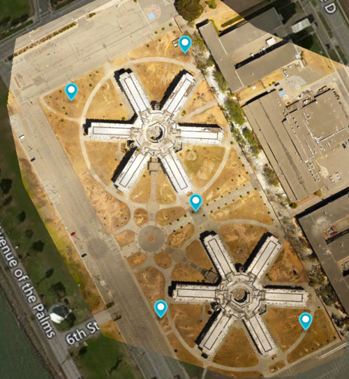 In this example, the subjects of interest are the 2 star shaped buildings so we place our GCP as best we can around the corners and in center of our subjects.