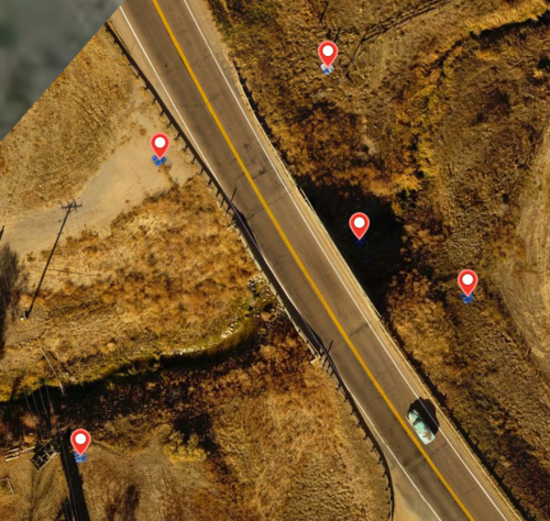 In this example, the center GCP is in a heavily shaded area and nearly invisible in the map photos.