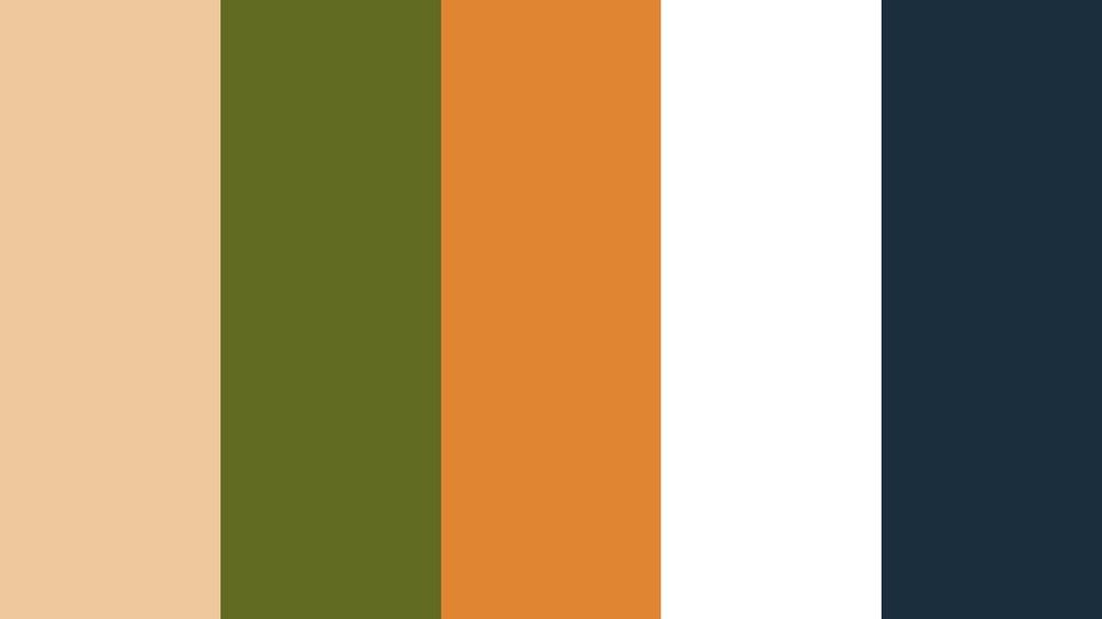 Peach - Orange, Grass Green, Tangerine, White, Navy -
